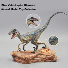 Early childhood educational toys Blue Velociraptor Dinosaur Action Figure With Base Animal Model Toy