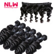 N.L.W. 10A Brazilian virgin human hair 3 bundles with frontal Loose wave hair weaves with frontal
