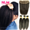 N.L.W. 10A Brazilian virgin human hair 3 bundles with frontal Kinky straigh hair weaves with frontal