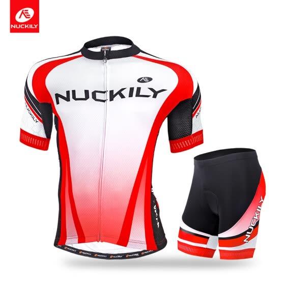 984ee0c23 NUCKILY Men s summer custom made bicycle jesery set short sleeve jersey and  foam padding short sportswear