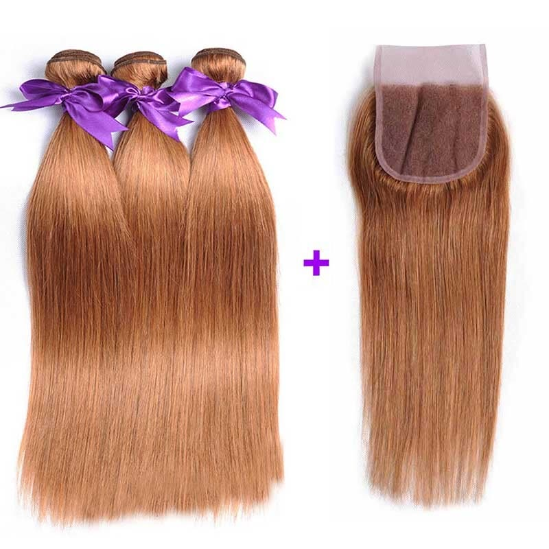 Blonde Brazilian Hair Weave 3 Bundles With Closure Straight Hair