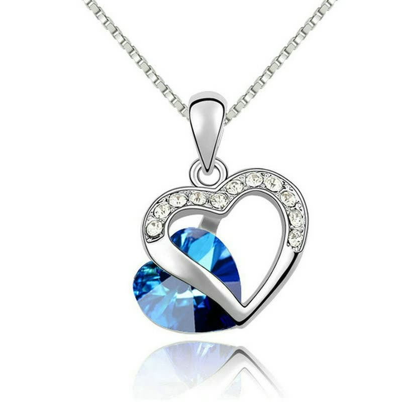 Yoursfs® 18K White Gold Plated Ocean Blue Necklace Use Austrian Crystal Gemstone Bridal Necklace