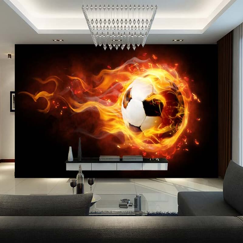 Custom Modern Fantasy 3D Wallpaper Mural Children's Room Sofa Background Wallpaper Football On Fire Wall Mural