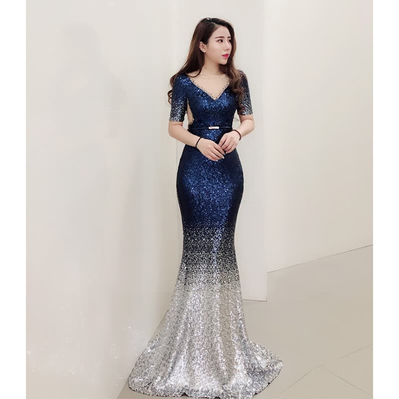 Shop Evening dress female new celebrity banquet party birthday party ...