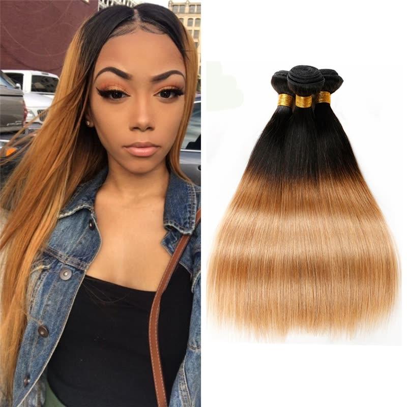 Shop Ombre Hair Straight 3 Bundles Dark Roots T1b27 Human Hair