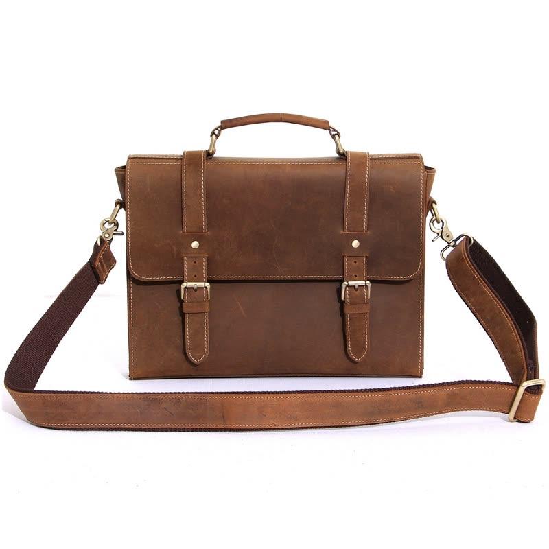 2016 luxury brand men genuine leather briefcase ipad bag handbag vintage cowhide shoulder bag for men