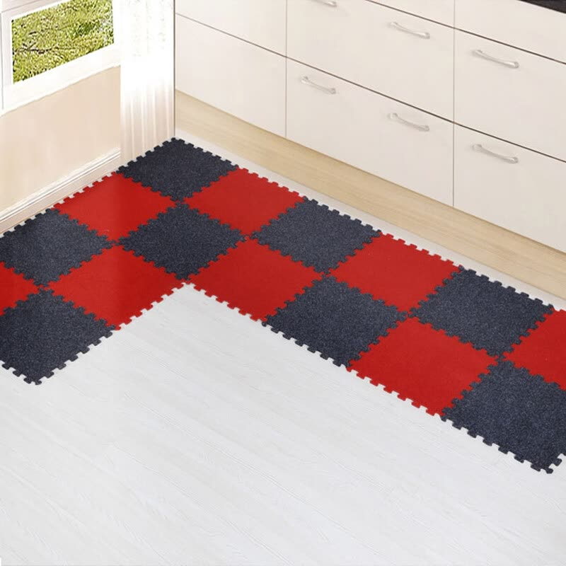 Mia Two Color Puzzle Mats Non Slip Kitchen Red And Black 4 Pieces