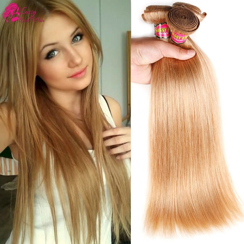 Straight Honey Blonde Brazilian Hair Weave Bundles Human Hair