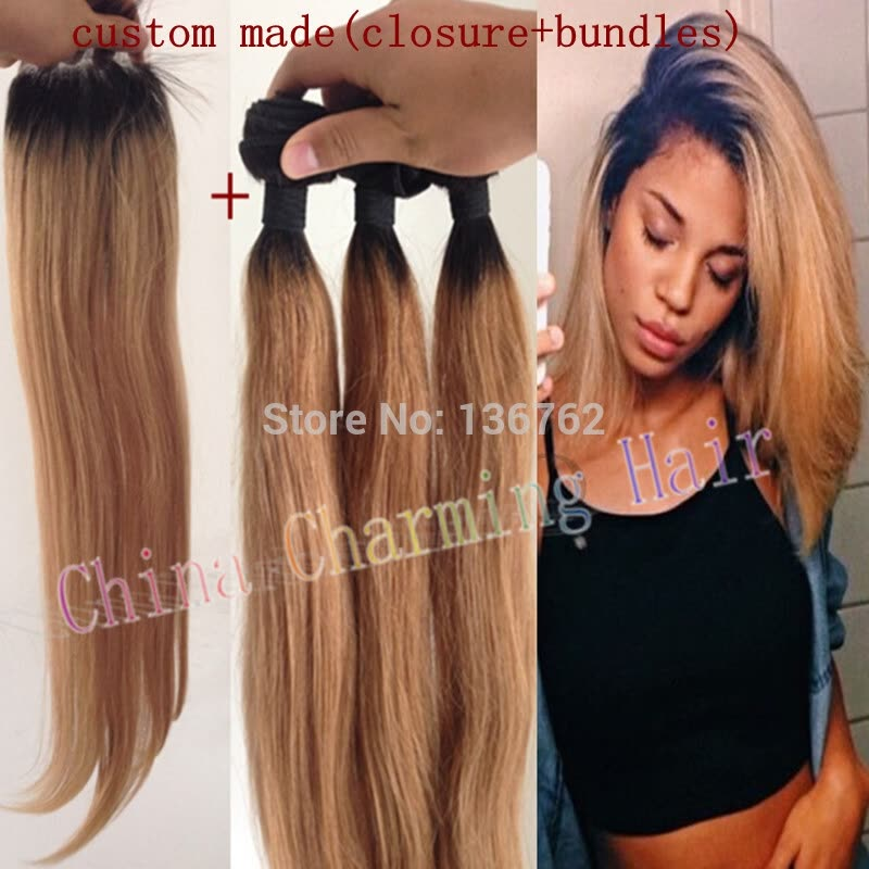 Ombre Hair Extensions 1b27 Honey Blonde Ombre Dark Roots Virgin