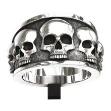 -Fashion Men Stainless Steel Skull Band Ring Hip Hop Punk Gothic Engagement Jewelry Rings on JD