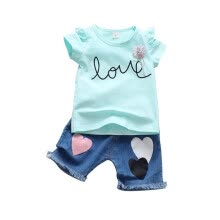 -Summer new children's clothing baby girls clothes English print short-sleeved T-shirt+denim shorts two-piece on JD