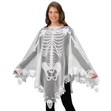 -Halloween Skeleton Lace Woven Poncho Comfortable Light Weight Sheer Fabric Breat on JD
