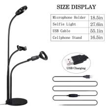 -Aluminum Alloy 3 in 1 Phone Mic Stand With 3 Light Color Selfie Ring Light Gooseneck Microphone Holder For Live Stream Videos on JD