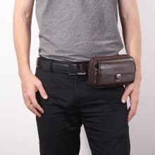 -Tailored Men Pure Color Leather Wallet Zipper Coin Purse Card Holder Waist Bag Chest Bags on JD