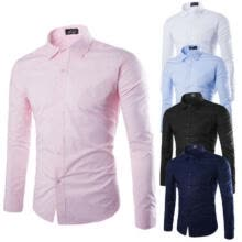 -Fashion Mens Luxury Casual Stylish Slim Fit Long Sleeve Casual Dress Shirts Gift on JD