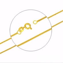 -1mm box chain plated 24K gold necklace women's necklace fashion accessories professional wholesale volume of large preferential on JD