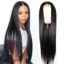 -Braziian Hair Straight Human Hair Lace Closure Wigs Indian 4*4 Human Hair Wigs Pre-Plucked With Baby Hair Natural Color on JD