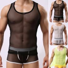 -Party Tops Vest Sleeveless Round Neck Shirt Men Male Thin Hollowed Fishnet Lace on JD