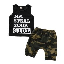 -Toddler Baby Boy Clothes Vest T shirt Tops+Camouflage Shorts Pants Outfits Set summer clothes boy clothing set boutique outfits on JD