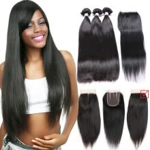 hair-bulk-i-Dishy Hair Product High Quality 8A Brazilian Virgin Hair Straight 3 Bundles  With 1 Closure Natural Color Human Hair Bundles on JD