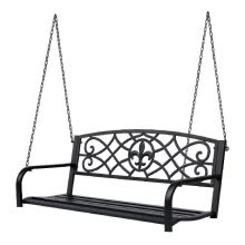 -Steel Outdoor Porch Swing Chair Hanging 2-person Bench Fleur-De-Lis Decor w/ Chain on JD