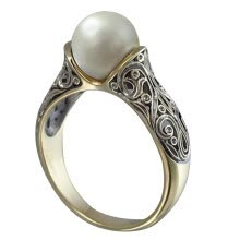 -Vintage Plated Jewelry Ring Artificial White Pearl Women Ring For Wedding Engagement Casual on JD