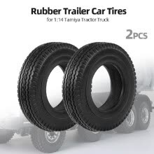-2pcs Trailer Car Rubber Tires for 1:14 Tamiya Tractor Truck RC Climbing Trailer on JD