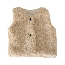 -Winter Children Girls Cute Warm Thick Faux Fur Vest Jacket Solid Color Round Collar Tops Outwears on JD