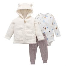 -Baby Girls Clothes Sets Long-Sleeved Plus Velvet Coat Trousers Boys And Girls Cartoon Letter Love Print Pants Hooded Jacket on JD