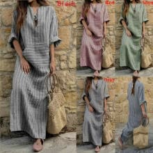 -New Womens Sleeveless Boho Party Casual Linen Kaftan Maxi Dress Long Dresses on JD