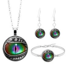 jewelry-sets-3Pcs Women Dragon Eye Glass Cabochon Necklace Earrings Bracelet Jewelry Set on JD