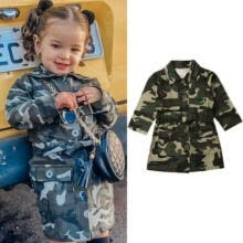 -Fashion Toddler Baby Girl Long Sleeve Camouflage Trench Coat Jacket Coat Outwear on JD