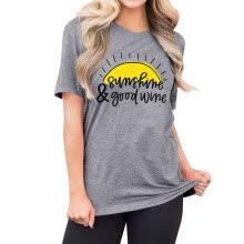 -Womens Sunshine & Good Wine Letter Printed Graphic Wine Lover T-Shirts on JD