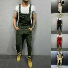 -Fashionable Men's Jeans S-3XL Denim Slim Pants Bib Jumpsuit Sling Workwear Casual Solid Clothing on JD