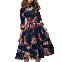 -Women Summer Dress Stripe Foral Print Retro Vintage Party Office Robe Rockabilly Dresses Vestidos Not With Belt on JD