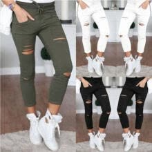 -Women Skinny Ripped Holes Jeans Pants Casual Stretch Slim Pencil Legings Trouser on JD