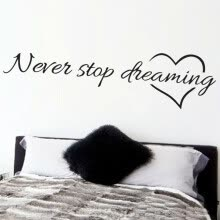 -Bluelans Never Stop Dreaming Inspirational Quotes Wall Decal Sticker Bedroom Home Decor on JD