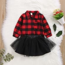 -Spring And Autumn Baby Girl Casual Long Sleeve Plaid Pattern Blouse Mesh Skirts Outfits Sets on JD