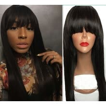 -Best Straight Full Lace Human Hair Wigs With Full Bangs For Black Women Brazilian Virgin Natural Color Pre Plucked With Baby Hair on JD