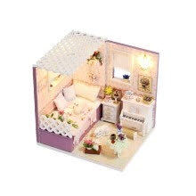 -Miniature Super Mini Size Doll House Model Building Kits Wooden Furniture Toys DIY Dollhouse Girl Bedroom Love in Budapest on JD