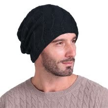 -Men Soild India Stretch Turban Hat Wool knitting Hair Loss Head Scarf Wrap on JD