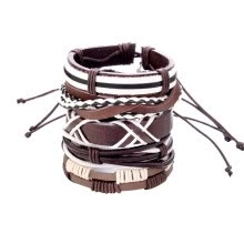 -New Men's Braided Leather Stainless Steel Cuff Bangle Bracelet Wristband Fashion on JD