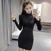 -Korean Version Of Autumn Winter  Slim Dress Women Fashion Casual O Neck Long Sleeve Knit Black Dresses on JD
