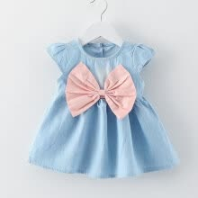 -Baby Girls Bow-knot Design Mini Dress Children Baby Summer Style Fashion Short Sleeve Party Dress Kids Clothes on JD