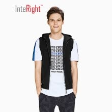 -INTERIGHT wool blend men's casual hooded vest Navy Blue L on JD