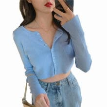 -Women´s Casual Blouse  Button Down Long Sleeve Knit Cropped Cardigan Sweater Autumn Tops on JD