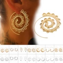 -Women Earrings Tribal Hoop Ear Studs Fashion Spiral Circle Body Piercing Jewelry on JD