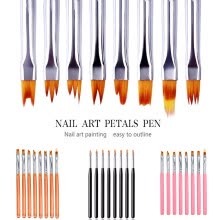 -Set Of 8 Nail Art Acrylic Brushes 13.5cm Gel Drawing Polish Pen Manicure Tool on JD