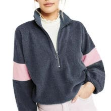 -Women Winter Fleece Sweatshirt Long Sleeve Zipper Pullover (Navy Blue)(XL) on JD