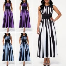 -Fashion Women´s Summer Vintage Long Maxi Dress Ladies Evening Party Cocktail Elegant Dresses on JD